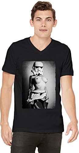 Storm Trooper Sexy Girl Mens V-neck T-shirt X-Large (Storm Trooper Sexy)