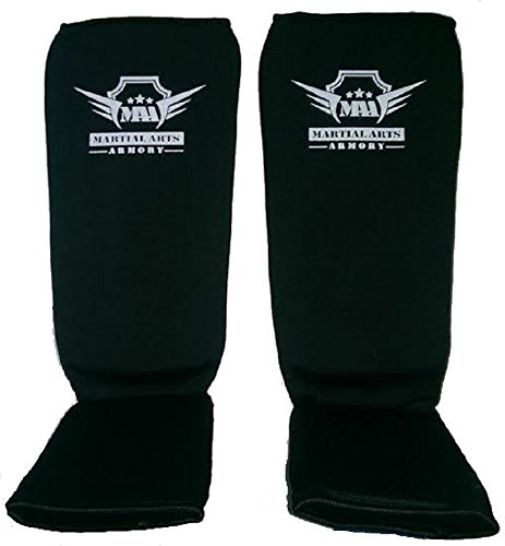 Martial Arts Armory Elastic Cloth Shin Guards - Black