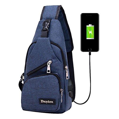 Crossbody Bag,Realdo USB Charging Port Outdoor Sports Casual Canvas Unbalance Backpack Messenger Sling Shoulder Blue