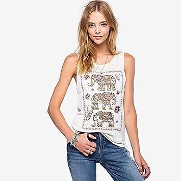 Mujer Camisas y blusas Depósitos de color blanco de impresión de la mujer, sin mangas