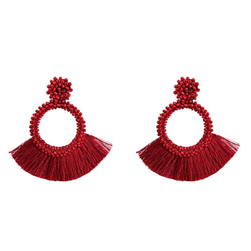 MELLOW SHOP Ethnic Large Tassel Fringe Earrings Handmade Beads Earrings Party Dangle Drop Earrings ()
