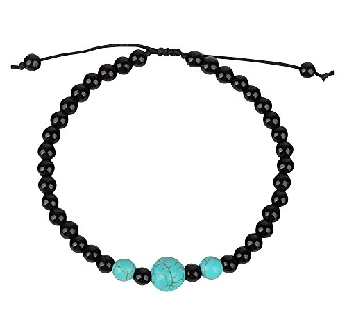 Ancient Tribe Handmade Adjustable Beads Beaded Anklet,Black (4#) Turquoise Ankle Bracelet Anklet