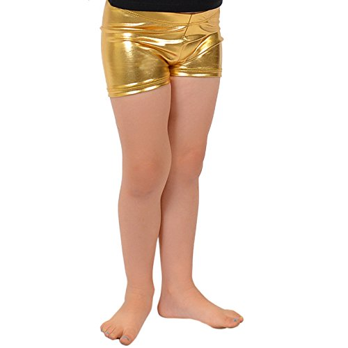 Stretch is Comfort Girl's Foil Metallic Booty Shorts Gold Large