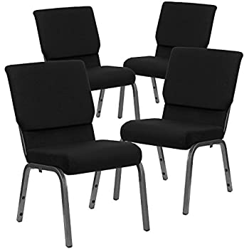 Flash Furniture 4 Pk. HERCULES Series 18.5''W Stacking Church Chair in Black Fabric - Silver Vein Frame
