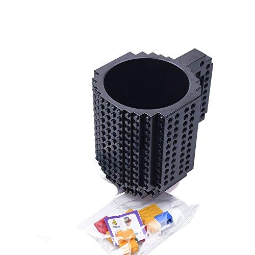 Mcgreen Black DIY Creative Lego Puzzle Brick Mug Build On Block Coffee Tea Drink Cup Gift -