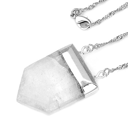 Top Plaza Sword Head Square Pointed Healing Chakra Crystal Stone Pendant Necklace, 19'' (Natural Rock Crystal)