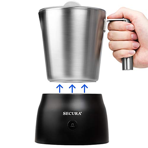Secura 4 in 1 Electric Automatic Milk Frother and Hot Chocolate Maker Machine 8.45 oz Stainless Steel Dishwasher Safe Removable Milk Jug