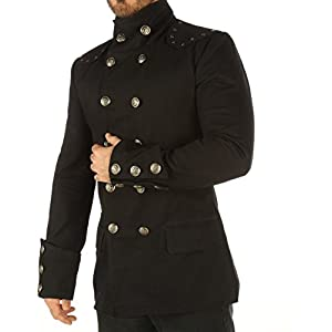 Leatherotics Men's Steampunk Military Jacket Top Mandarin Collar Jacket MSP
