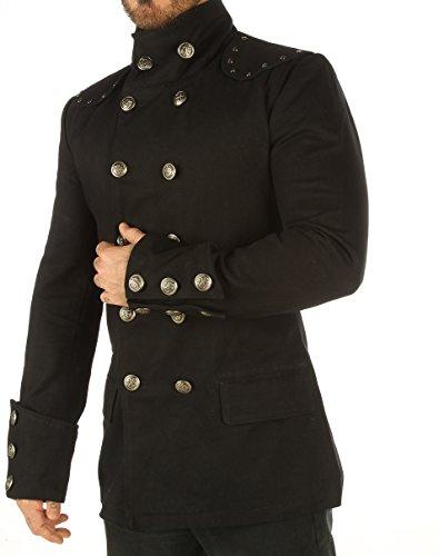 Men's Steampunk Military Jacket Top Mandarin Collar Jacket MSP 3