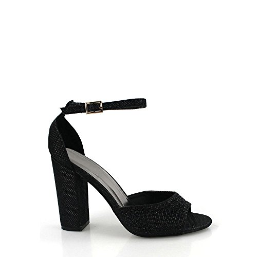 Block Grace Black Ladies Anklestrap Toe Heel Womens Sandal Open Diamante High 7wTnaw