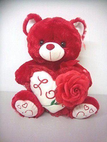 Red Valentine Bear with Rose ,Heart & Sound Says