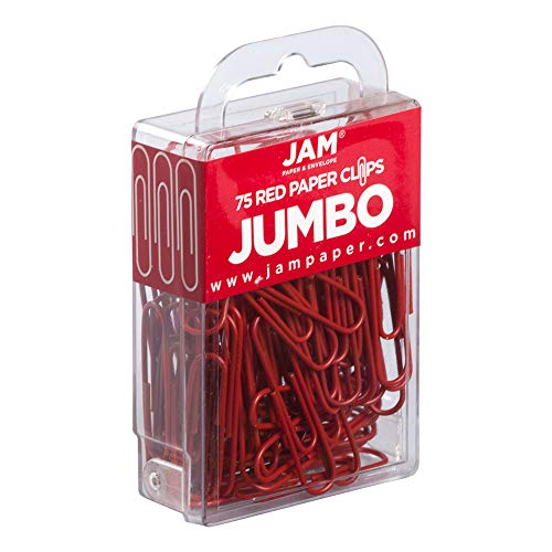 JAM PAPER Colorful Jumbo Paper Clips - Large 2 Inch - Red Jumbo,