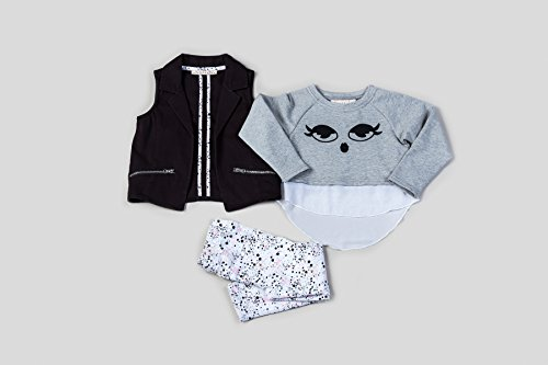 3 Piece French Terry Jacket - Kinderkind Kids Toddler Girl's 3 Piece Twill Vest French Terry/Chiffon Sweatshirt and Splatter Legging 4T Grey Multi
