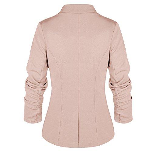 Lady Larga Ropa Slim Botón Un Casual Caqui Manga Con Chaqueta Coat Blazer Mujer Trabajo Blazers De Traje Yying xA6qF070