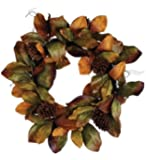 Magnolia Wreath with Pine Cones In Fall Colors