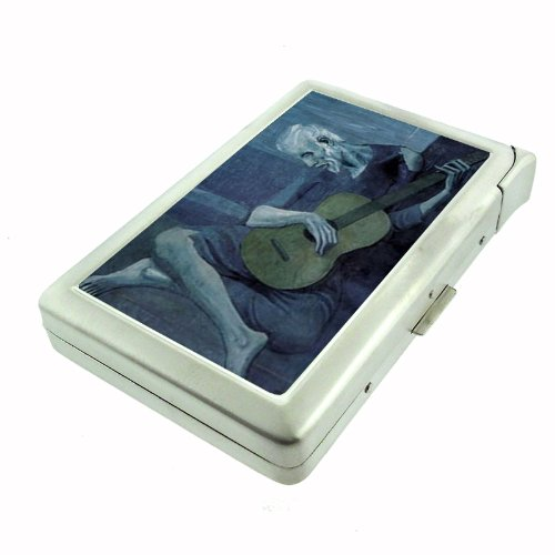 Pablo Picasso The Old Guitarist Double-Sided Cigarette Case with lighter, ID Holder, and Wallet (Old Cigarette Holders)