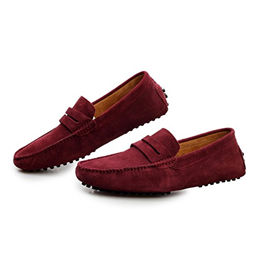 Santimon-mens Casual Comfort Genuine Nubuck Leather Running Outdoor Low Boat Shoes Moccasin Loafers-2808 Red BP89pDoIh