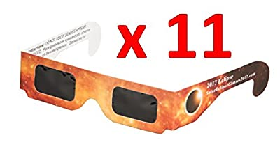 Solar Eclipse Glasses 10-pack +1 FREE! (Paper / Mylar Safety Viewing Goggles for 2017 Eclipse) CE and ISO Certified Safety Protection!