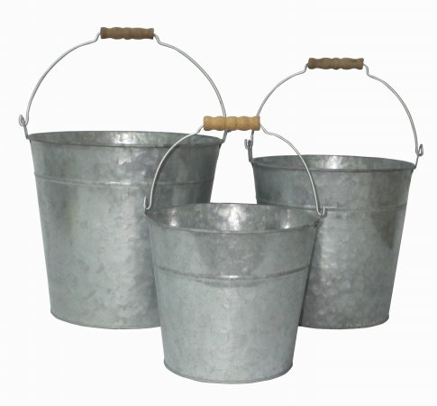 Cheung's FP-3743-3 Bucket with Natural Wood Grip Handle, Galvanized Gray, 3 Piece - Gray Natural Wood