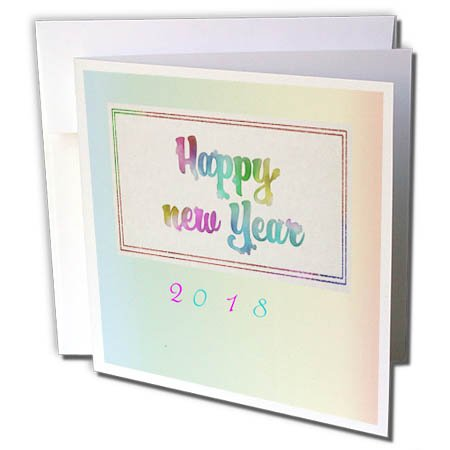 3dRose New Year Designs - Image of Soft Happy New Year 2018 Watercolor Pastels - 1 Greeting Card with envelope (gc_266422_5)