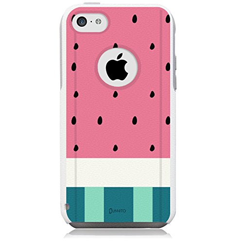 iPhone 5c Case White Watermelon Pink [Dual Layered Hybrid] Protective Commuter Case for iPhone 5c White Case by Unnito