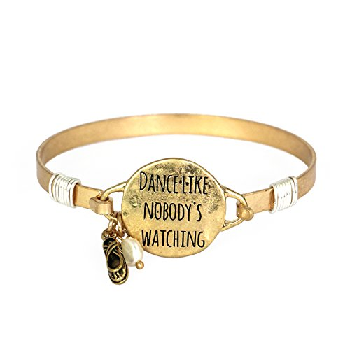 Dance Like Nobodys Watching Bangle Bracelet with Wire Design and Dancing Shoe Charm (Worn Gold) ()