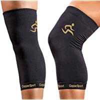 CopperSport Copper Compression Knee Sleeve Support - Suitable for Athletics, Tennis, Golf, Basketball, Sports, Weightlifting, Joint Pain Relief, Injury Recovery (Single Sleeve)