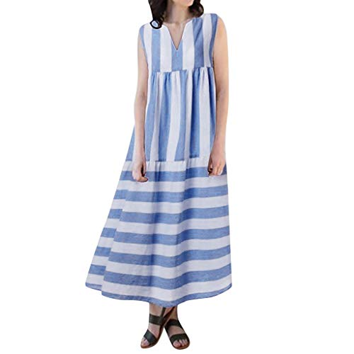 (Women Summer Vest Dress TANGSen Ladies Fashion Striped Sleeveless V-Neck Party Casual Loose Long Dress Blue )