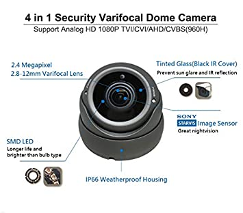 1080P 4in1 HD-TVI, HD-AHD, HD-CVI, CVBS Standard Analog STARVIS Image Sensor 2.8-12mm Varifocal Lens Dome Camera 1 Pack, Black