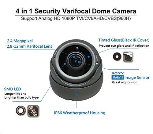 1080P 4in1 HD-TVI, HD-AHD, HD-CVI, CVBS Standard Analog STARVIS Image Sensor 2.8-12mm Varifocal Lens Dome Camera 10 Pack, Black
