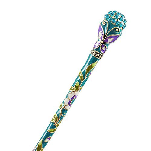 (FINGER LOVE Cloisonne Enamel Floral Hair Stick Rhinestones and Tassels (Butterfly, Turquoise))