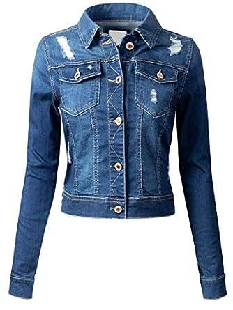 doublefive Women's Classic Casual Distressed Vintage Denim Jeans Jacket/Vest Sleeveless - Blue - Medium