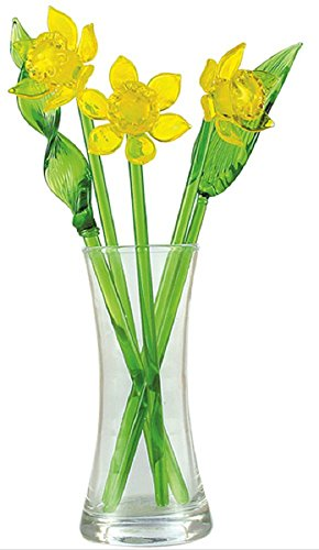 Daffodils Hand Blown Glass Flower Set - Includes Vase and Leaves with Red Ladybug