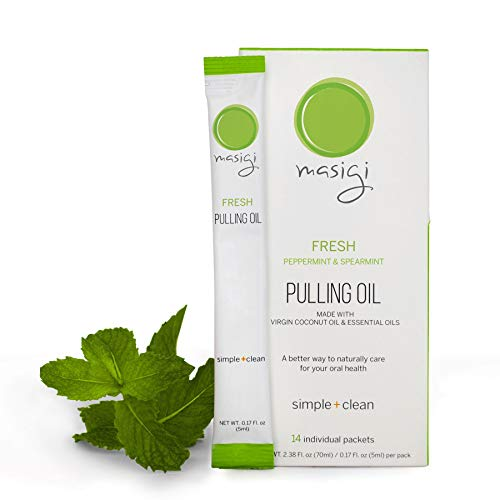 Masigi Fresh | Organic Coconut Oil Pulling Mouthwash | A Natural Ayurvedic Oral Detox for Teeth and Gums | 14 Single-Serve Travel Friendly Packets | Mint Flavor (70ml)