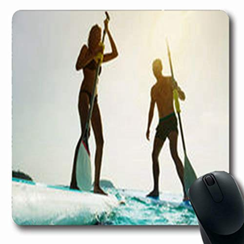 Pandarllin Mousepads Ocean Stand Paddle Board Couple Water Paddleboarding Young Nature Sports Recreation Oblong Shape 7.9 x 9.5 Inches Oblong Gaming Mouse Pad Non-Slip Rubber Mat