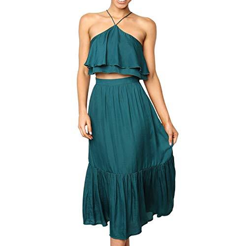 Party Skirt Set - Women's Elegant Halter Backless Ruffle Crop Top High Waist Maxi Skirt Set 2 Piece Cocktail Party Long Dress Summer Outfit Beach Sundress (X-Large, Green)