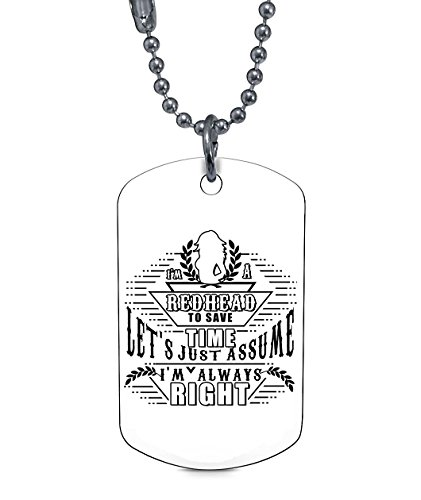 COLOSTORE Cool Red Head Necklaces, I'm A Red Head Dog Tag (Dog Tag Necklaces - (White Dog Head Necklace)