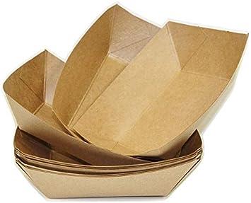 us relic Bandeja de papel kraft para alimentos, bandejas de nacho resistentes, 2.5 libras, bandeja de comida de papel desechable para carnavales. Kraft Bandeja para alimentos, 50 unidades: Amazon.es: Salud y cuidado