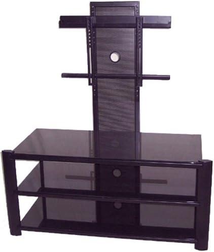 Lite Source LSH-5612BLK Burly 3-Tier TV Stand, Black Metal Frame with Black Tempered Glass Shelves