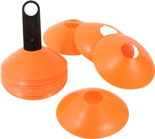 Trademark Innovations Plastic Disc Cone Sports Training Gear with Carrier, Pack of 24