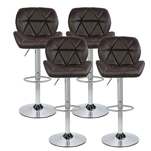 PULUOMIS Set of 4 Bar Stools Modern Hydraulic Adjustable Swivel Barstools, Leather Padded with Back, Dinning Chair with Chrome Base, Brown ...