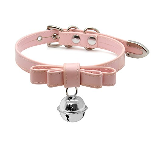 Handmade Cosplay Lolita Kitty Bell Collar Leather Bow Choker Necklace (pink choker with silver - Bow With Kitty