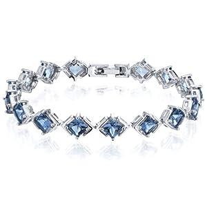 Classy & Elegant 12.00 carats total weight Princess Cut London Blue Topaz Gemstone Bracelet in Sterling Silver Rhodium Nickel Finish from Peora