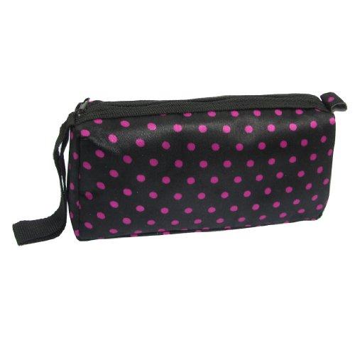 Woman Black Fuchsia Dots Zipper Cosmetic Lipstick Holder Pouch Bag