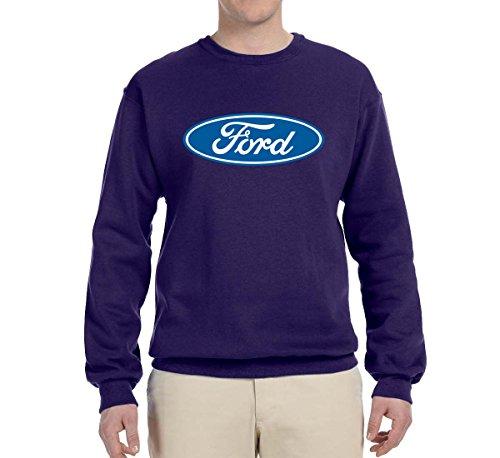 Wild Bobby Ford Motors | Blue Logo | Mens Planes/Trains/Automobiles Crewneck Graphic Sweatshirt, Purple, (Racing Mens Crewneck Sweatshirt)