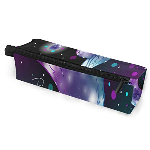 (Glasses Case Galaxy Wolf Multi-Function Zippered Pencil Box Makeup Cosmetic Bag for Women/Men)