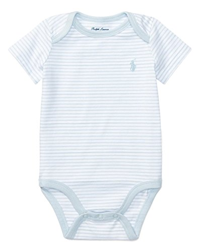 RALPH LAUREN Baby Boys Striped Cotton Jersey Bodysuit (12 Months, Beryl Blue/White) ()