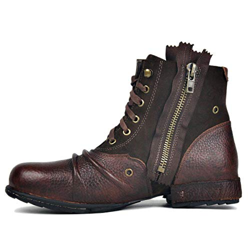 OTTO ZONE Moto Boots for Men Fashion Zipper-up Leather Chukka Boots with Fur Casual Shoes -