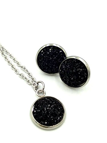 Black Agate Dome Ring - luo 12set/pcs 12colors Jewelry Sets Fashion druzy Necklace Earrings Wedding Party Accessories Women (Black)
