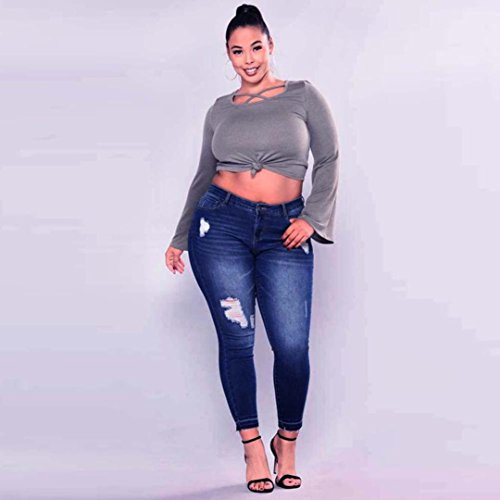 Pantalones Mujer Pantalones Pantalones Cintura De Mezclilla Jeans Mujer Alta Color Cinnamou A de Tamaño Elásticos Grande Slim Skinny Largos Leggings Flacos Pantalones Agujero Vaqueros Pwt455x